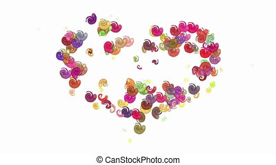 Love in heart by animated spirals