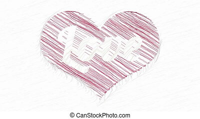 Drawing Love in red heart animation - Love inscription...