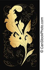 Golden acanthus leaf background