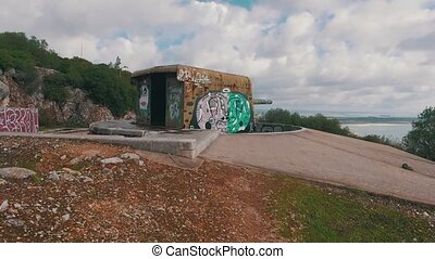 Old Coastal Artillery with Modern Graffiti, Setubal Portugal