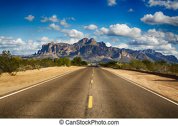 Road to Superstition Mountain - A long remote road leading...