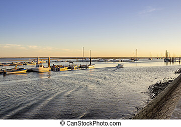 Olhao Marina dusk, the city is capital of Ria Formosa...