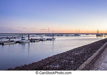 Olhao Marina dusk, the city is capital of Ria Formosa...