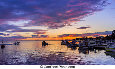 Olhao Marina Cloudy Sunset, the city is capital of Ria...