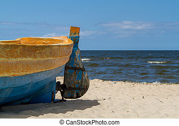 Baltic sea, fragment of boat on beach - Boat on the sandy...