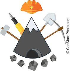 mining flat icon - Flat icon with mountain and mining tools