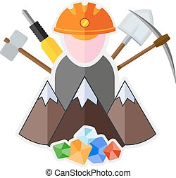mining flat icon - Flat icon with mountain, miner and mining...