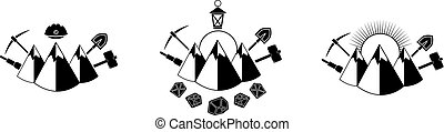 mining icon - Set of black icon with mountains and mining...