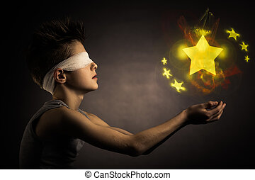 Glowing Stars Over the Open Hands of a Blind Boy - Glowing...
