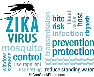 Zika Virus Word Cloud - Zika virus, mosquito over standing...