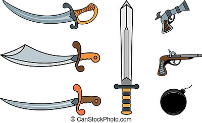 pirate weapons - Set of pirate weapons: sabers and pistols
