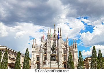 The dome Cathedral facade - Milan Cathedral against a cloudy...