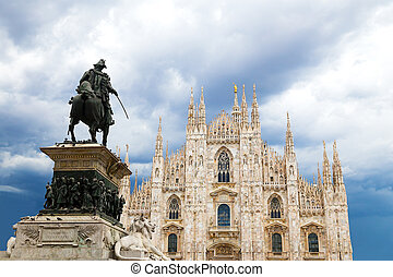 Milan Cathedral Dome with statue - The dome Cathedral facade...