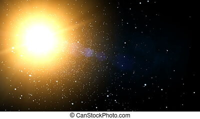 Galaxy Sunshine Stars 60fps - Flying through stars towards...