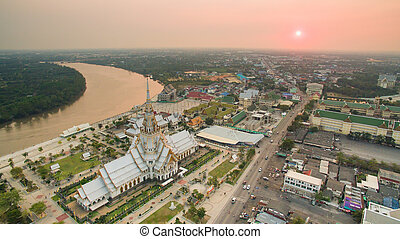 aerial view of wat sothorn temple in chachengsao province...