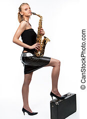 saxophone in my dreams - elegant smiling nice caucasian...