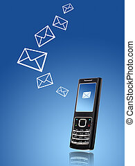 Mobile phone. Sending message concept.