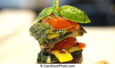Grill tomatoes eggplants pesto - video of healthy vegetarian...