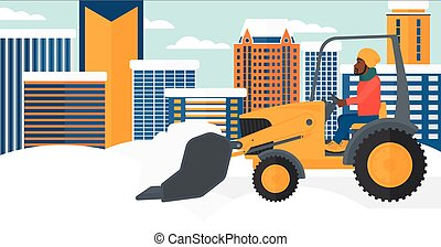Man plowing snow - An african-american man driving a...