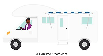 Man driving motor home - An african-american driving a motor...