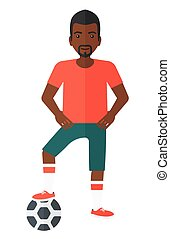 Football player with ball. - An african-american football...