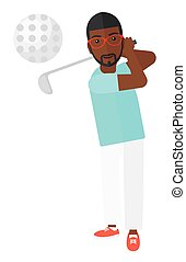Golf player hitting the ball. - An african-american golf...