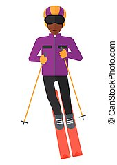 Young man skiing - An african-american young man skiing...