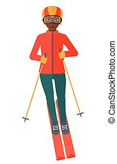 Young woman skiing - An african-american woman skiing vector...