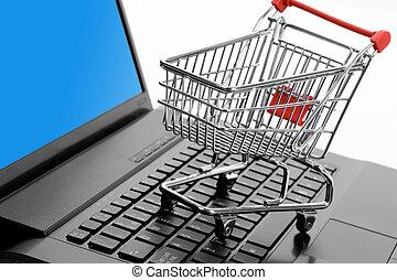 shopping, carreta, computador, teclado