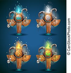 Set shaman totems - symbols of the four elements. The...