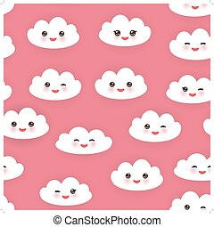 Kawaii funny white clouds set, muzzle with pink cheeks and winking eyes. Seamless pattern  on pink background. Vector