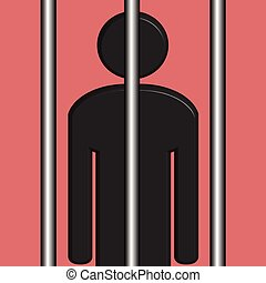 Black Man in Jail - An illustration of a Black Man in Jail