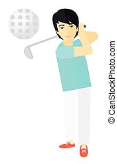 Golf player hitting the ball. - An asian golf player hitting...
