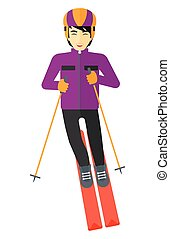 Young man skiing - An asian man skiing vector flat design...