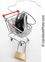 Shopping Cart and Computer Mouse - Shopping Cart, lock and...