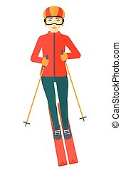 Young woman skiing. - An asian woman skiing vector flat...