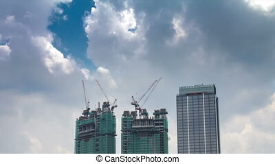 Under construction 2 buildings time lapse