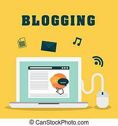 Blog and technology graphic design, vector illustration...