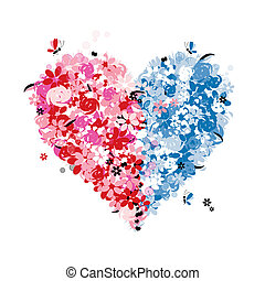 Floral heart shape of two halves