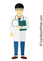 Doctor with stethoscope and file. - An asian doctor with...