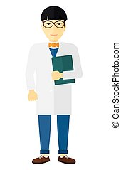 Doctor holding file - An asian doctor holding a file vector...