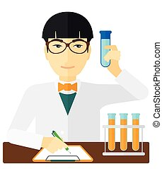 Laboratory assistant working - An asian laboratory assistant...