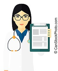 Doctor holding medical notepad - An asian doctor holding...
