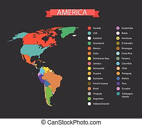 World map infographic template Countries of America