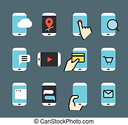Different modern smartphone color flat icons collection