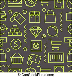 Different shopping seamless pattern Lineart concept