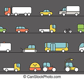 Different transport silhouette icons collection. Seamless...