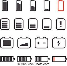 Different accumulator status icons Minimalism illustration...