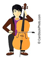 Man playing cello - An asian man playing cello vector flat...