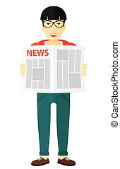 Reporter reading newspaper. - An asian reporter reading the...